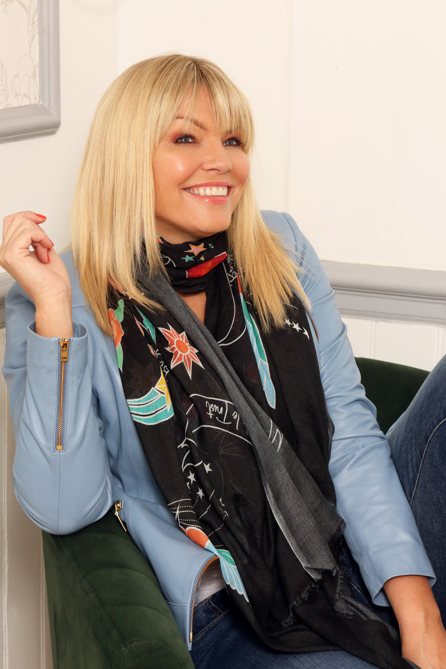 Kate Thornton 'In Girls We Trust' Black Swallow Scarf
