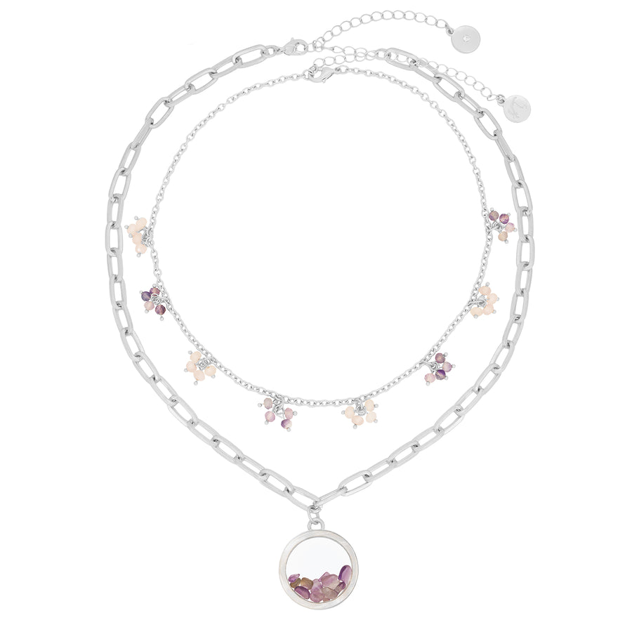 Kate Thornton 'Dancing Stones' Silver Amethyst Locket Necklace with Mother of Pearl