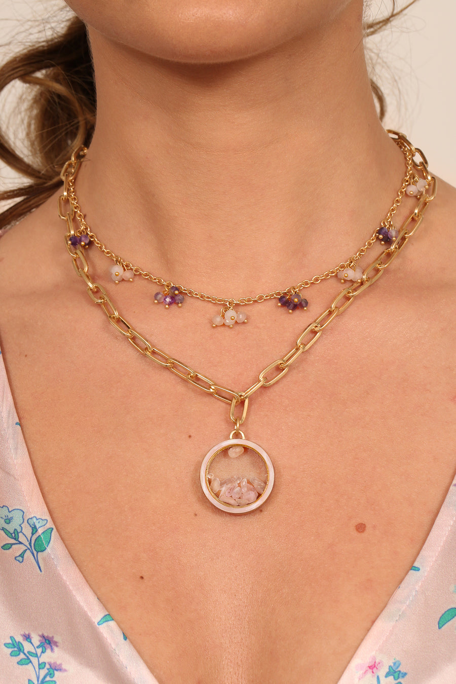 Kate Thornton 'Dancing Stones'  Gold Rose Quartz Locket Necklace with Mother of Pearl