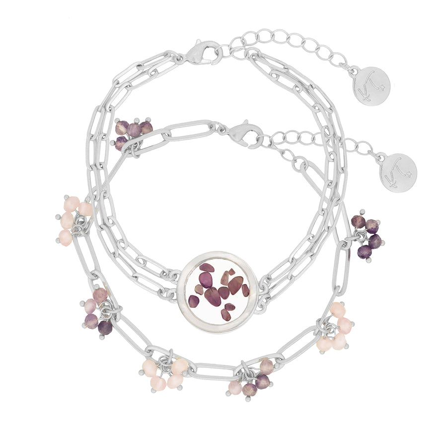 Kate Thornton 'Dancing Stones'  Silver Amethyst Locket Bracelet with Mother of Pearl