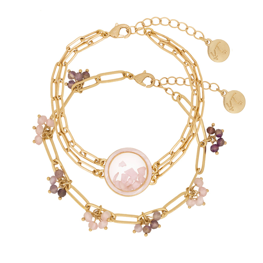 Kate Thornton 'Dancing Stones' Gold Rose Quartz Locket Bracelet with Mother of Pearl