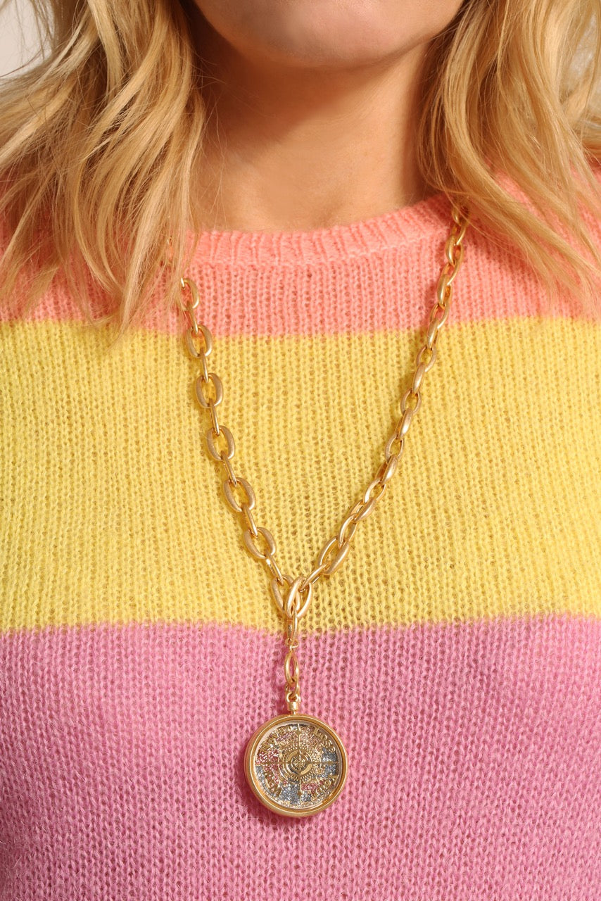 Kate Thornton Globe Compass Gold Necklace