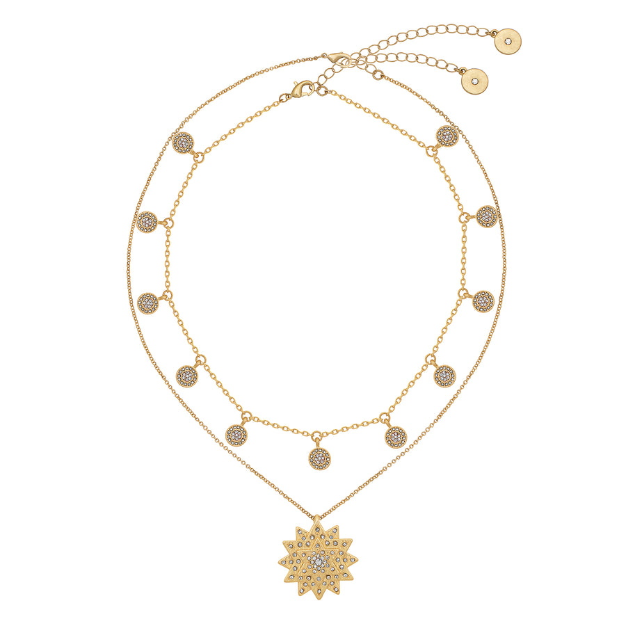 Kate Thornton Gold Layered Star and Boho Coin Necklace