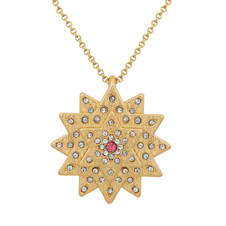 Kate Thornton Gold and Pink Layered Star and Boho Coin Necklace