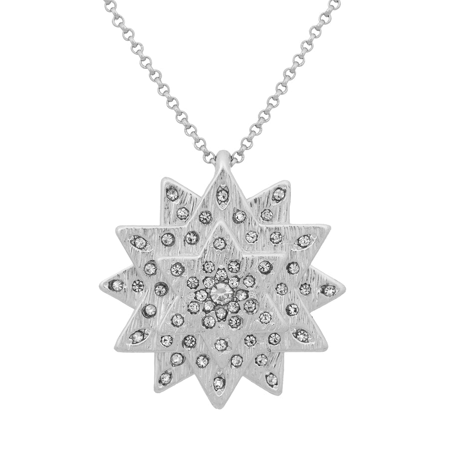 Kate Thornton Silver Layered Star and Boho Coin Necklace