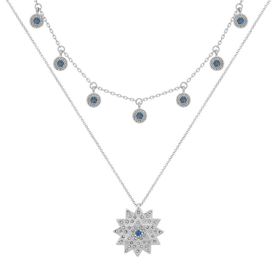 Kate Thornton Silver and Blue Layered Star and Boho Coin Necklace