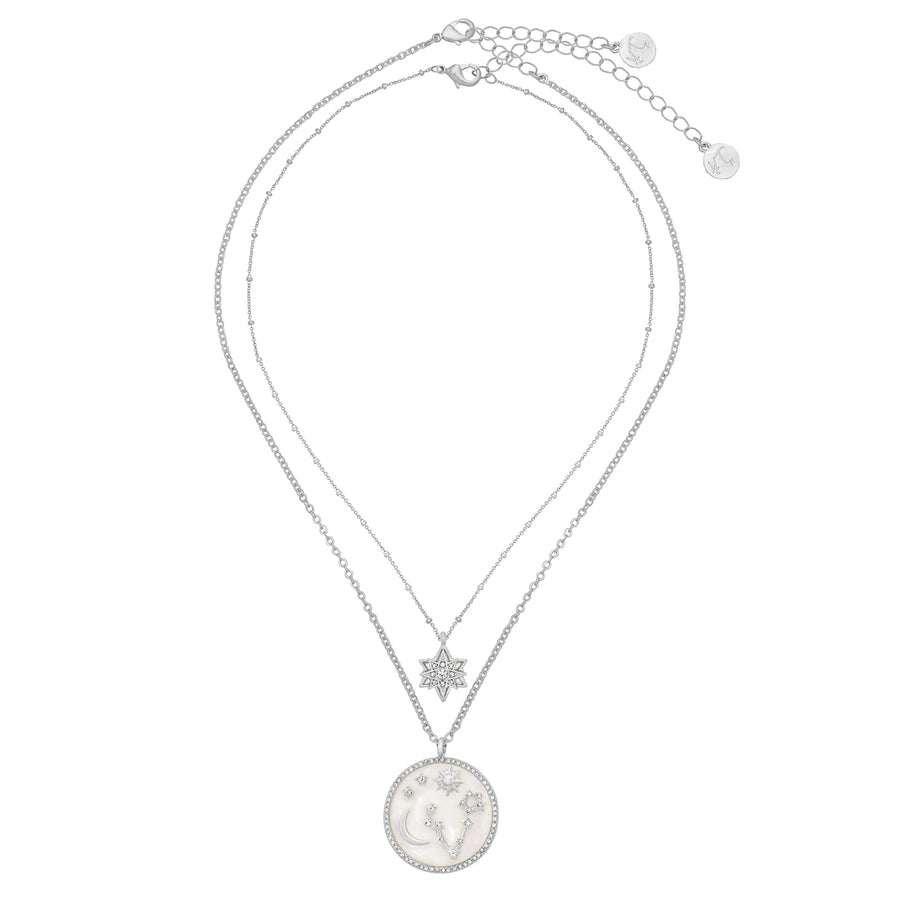Kate Thornton 'Starry Sky' Silver Mother of Pearl Layered Necklace