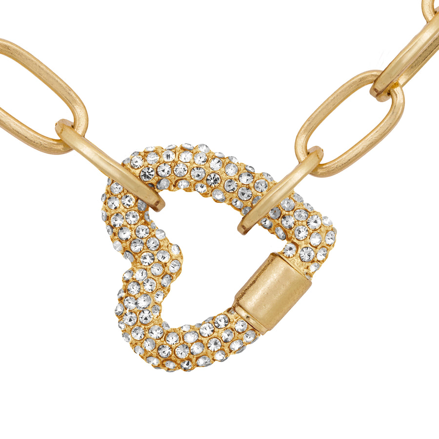 Kate Thornton Gold Double Pavé Heart Necklace