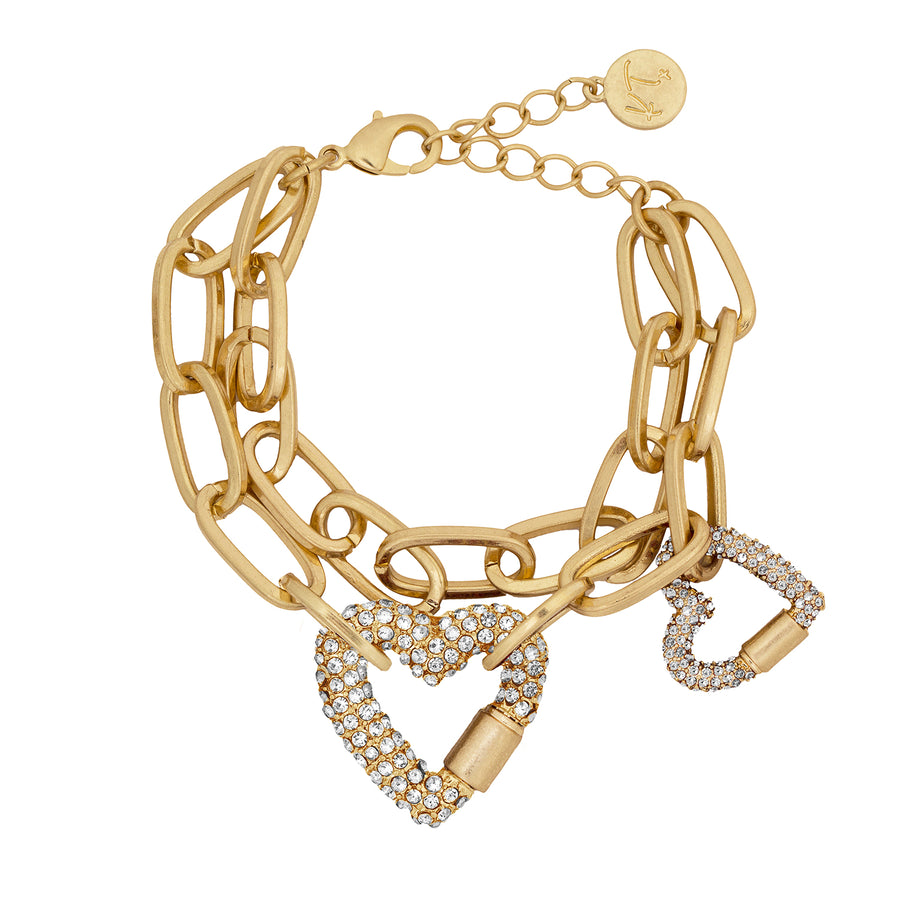 Kate Thornton Gold Double Row Pavé Heart Bracelet