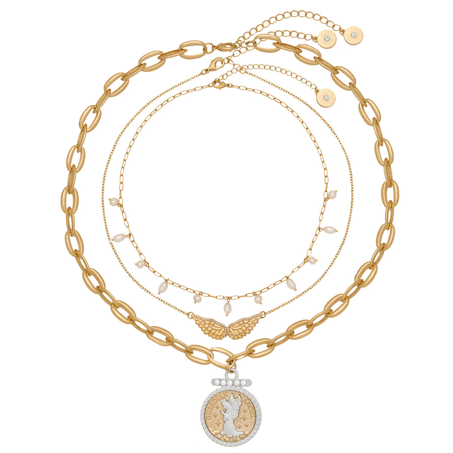 Kate Thornton Guardian Angel Layered Gold Necklace with Pearl