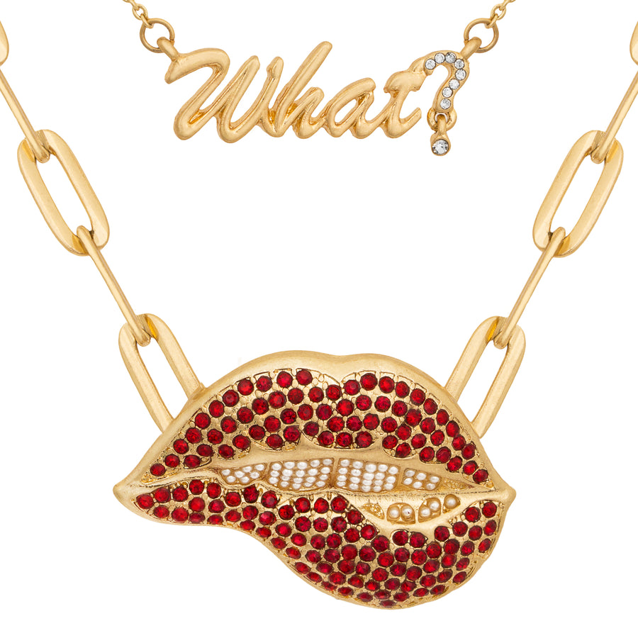 Kate Thornton Red Lips Statement Necklace