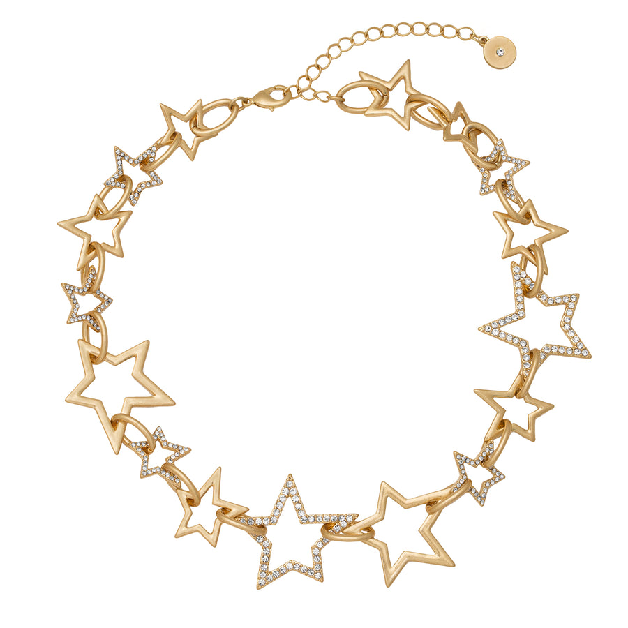 Kate Thornton Chunky Gold Star 'Starlight' Necklace with pavé stones