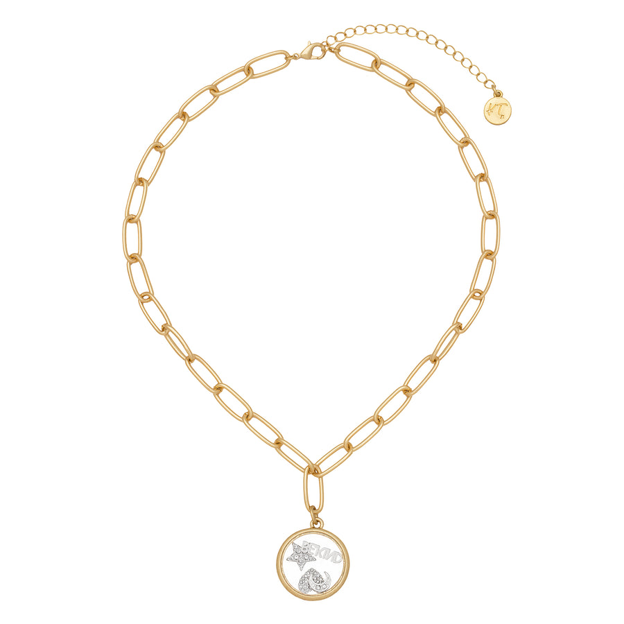 Kate Thornton Gold 'Celestial Love' Floating Locket Necklace
