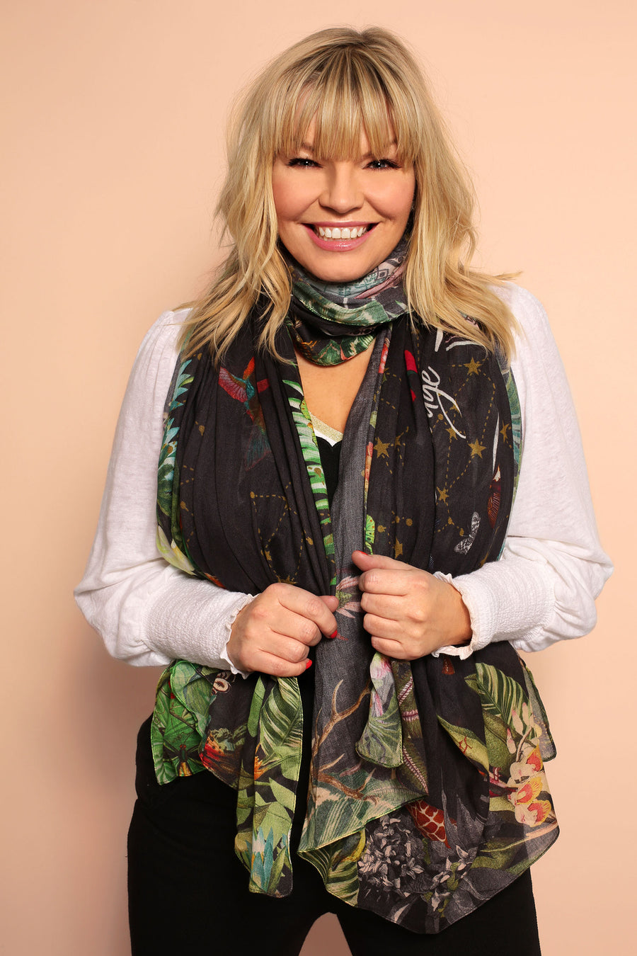 Kate Thornton Black 'Moral Compass' Lightweight Scarf