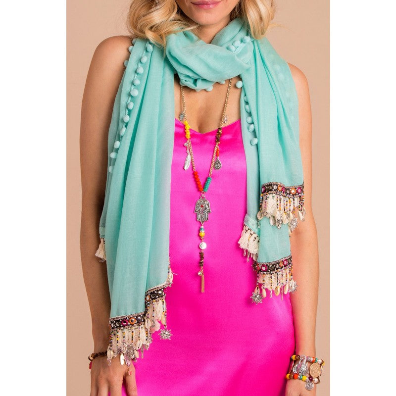 Marbella Turquoise Bohemian Charm Scarf