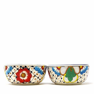 Half Moon Bowls - Dots and Flowers, Set of Two - Encantada