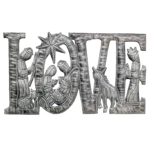 "LOVE Metal Art with Nativity Scene (9"" x 14"") - Croix des Bouquets (H)"