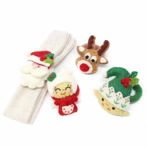 Hand Felted Christmas Napkin Rings, Set of Four - Global Groove (T)