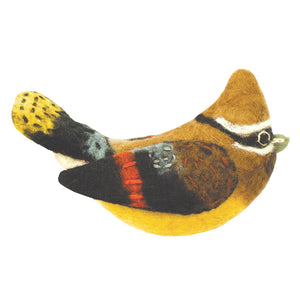 Felt Bird Garden Ornament - Cedar Waxwing Handmade and Fair Trade