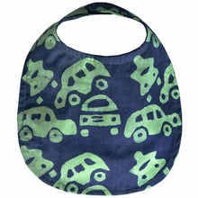 Load image into Gallery viewer, Batiked Baby Bib Lime Car Design - Global Mamas (B)