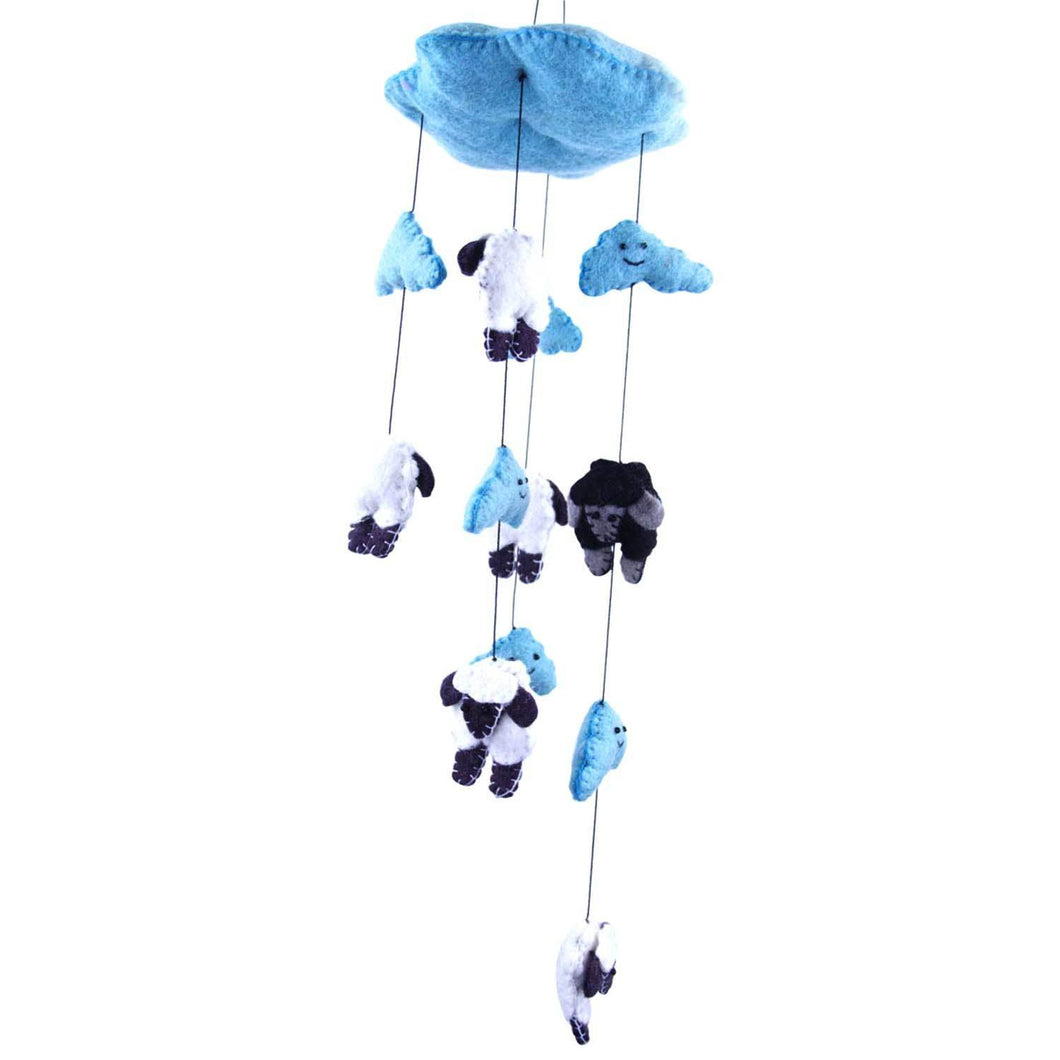 Blue Felt Counting Sheep Mobile - Global Groove