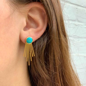Gold and Turquoise Sunburst Stud Dangle Earrings - Starfish Project