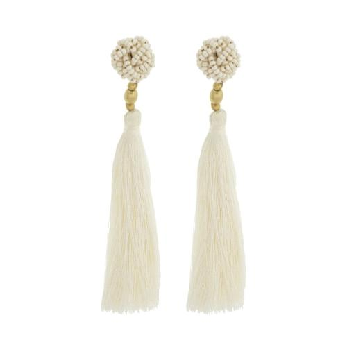 The Rosette Tassel Earring, Cream - Aid Through Trade