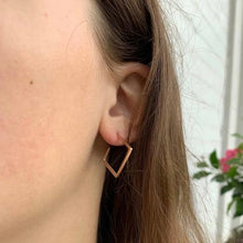 Load image into Gallery viewer, Rose Gold Plated 2D Diamond Shape Earrings - Starfish Project
