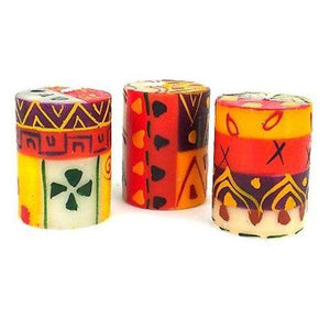 Set of Three Boxed Hand-Painted Candles - Indaeuko Design Handmade and Fair Trade