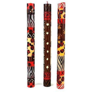 Set of Three Boxed Tall Hand-Painted Candles - Uzima Design Handmade and Fair Trade
