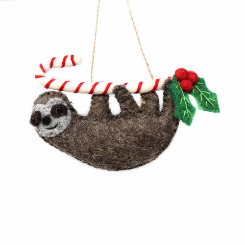 Hand Crafted Felt from Nepal: Ornament, Candy Cane Sloth - Global Groove (H)