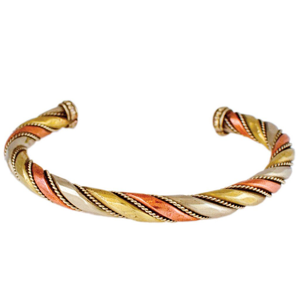 Copper and Brass Cuff Bracelet: Healing Staff - DZI (J)