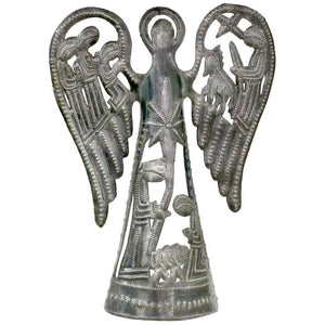 Metal Angel with Nativity Scene (12 inch) - Tree Topper - Croix des Bouquets