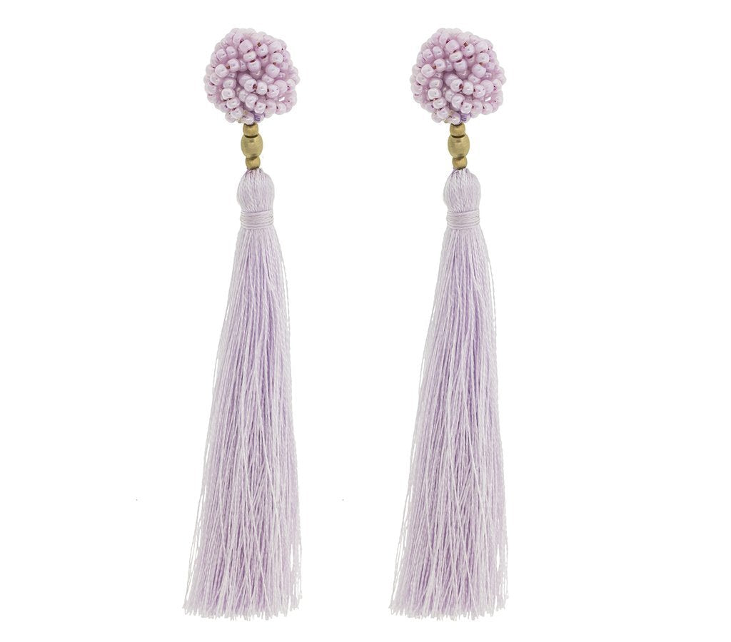The Rosette Tassel Earring, Seashell - Aid Through Trade