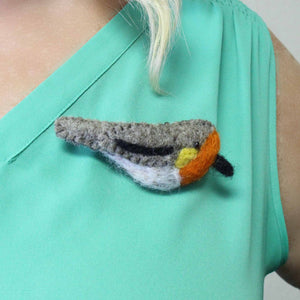 Hand Crafted Felt from Nepal: Bird Brooch, Red Breast - Global Groove (J)