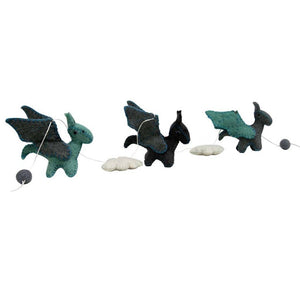 Felt Dragon Garland - Blue Colors - Global Groove
