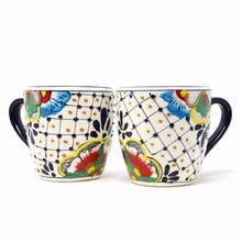 Load image into Gallery viewer, Rounded Mugs - Dots and Flowers, Set of Two - Encantada