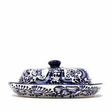 Load image into Gallery viewer, Handmade Pottery Butter Dish, Blue Flower - Encantada