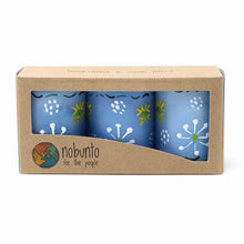 Load image into Gallery viewer, Hand Painted Candles in Blue Masika Design (box of three) - Nobunto