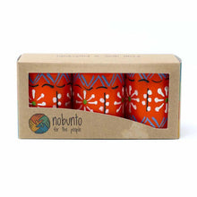 Load image into Gallery viewer, Hand Painted Candles in Orange Masika Design (box of three) - Nobunto