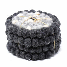 Load image into Gallery viewer, Hand Crafted Felt Ball Coasters from Nepal: 4-pack, Flower Black/Grey - Global Groove (T)