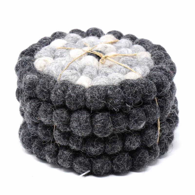Hand Crafted Felt Ball Coasters from Nepal: 4-pack, Flower Black/Grey - Global Groove (T)