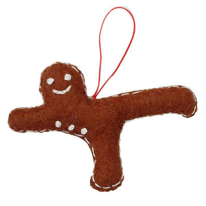 Gingerbread Yogi Felt Ornament - Airplane Pose - Global Groove (H)