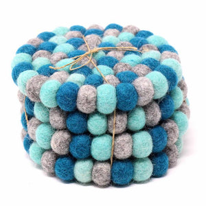 Hand Crafted Felt Ball Coasters from Nepal: 4-pack, Chakra Light Blues - Global Groove (T)