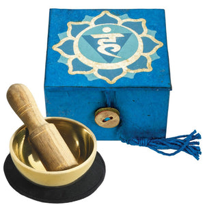"Mini Meditation Bowl Box: 2"" Throat Chakra - DZI (Meditation)"