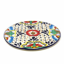 "Load image into Gallery viewer, Handmade Pottery 8"" Trivet or Wall Hanging, Dots & Flowers - Encantada"