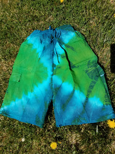 Tie Dyed Shorts Small 100% Cotton Blue & Green
