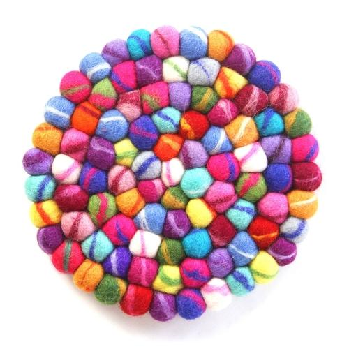 Hand Crafted Felt Ball Trivets from Nepal: Round, Rainbow - Global Groove (T)