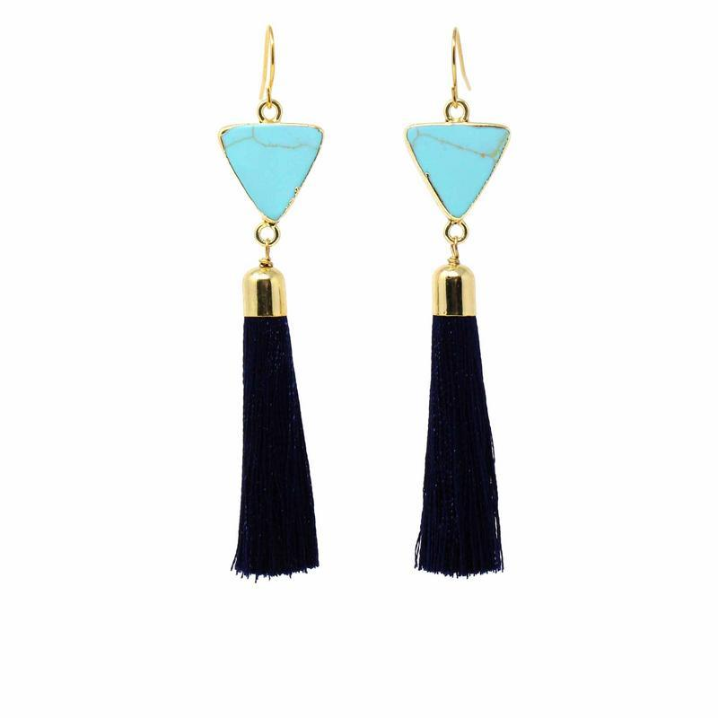 Gold and Turquoise Triangle Tassle Earrings - Starfish Project