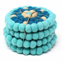 Load image into Gallery viewer, Hand Crafted Felt Ball Coasters from Nepal: 4-pack, Flower Turquoise - Global Groove (T)